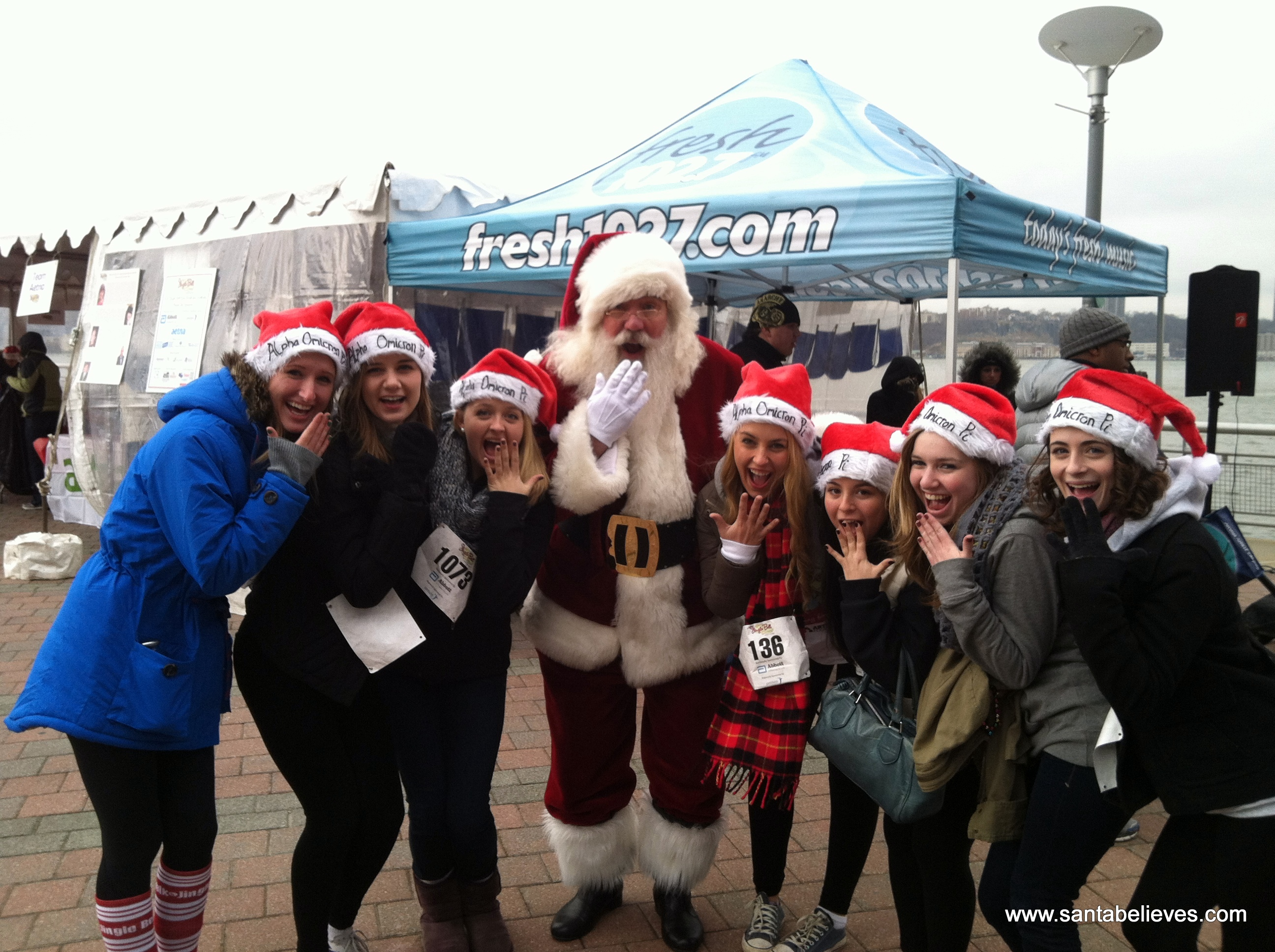 Sisters of Alpha Omicron Pi at Wagner College NYC Jingle Bell Run - Walk 12-1-12